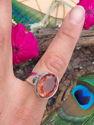 AA Grade~ Gemmy Faceted Orange Sunstone Ring In Sterling Silver (Size  8.5) - Earth Family Crystals