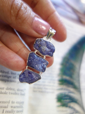 Amazing Triple Glory Raw Tanzanite  Pendant In Sterling Silver (Includes Silver Chain) - Earth Family Crystals