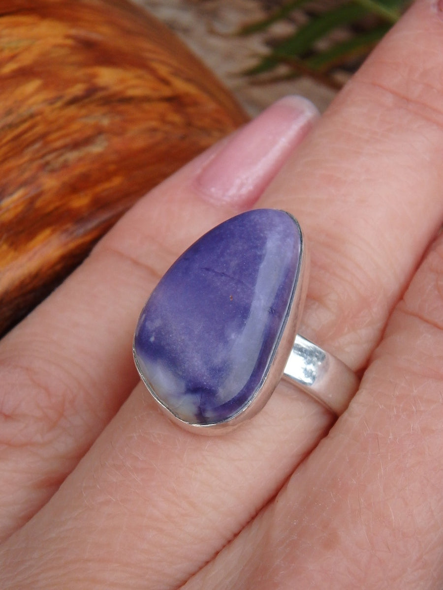 Fantastic Jelly Bean Purple Tiffany Stone Ring in Sterling Silver (Size 8) - Earth Family Crystals