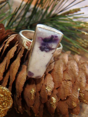 Creamy White & Purple Tiffany Stone Gemstone Ring in Sterling Silver (Size 6) - Earth Family Crystals