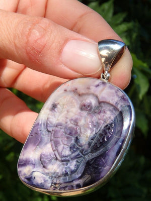 Breathtaking Custom Crafted Turtle Etched In Chunky Purple Tiffany Stone Pendant In Sterling Silver (Includes Silver Chain) - Earth Family Crystals