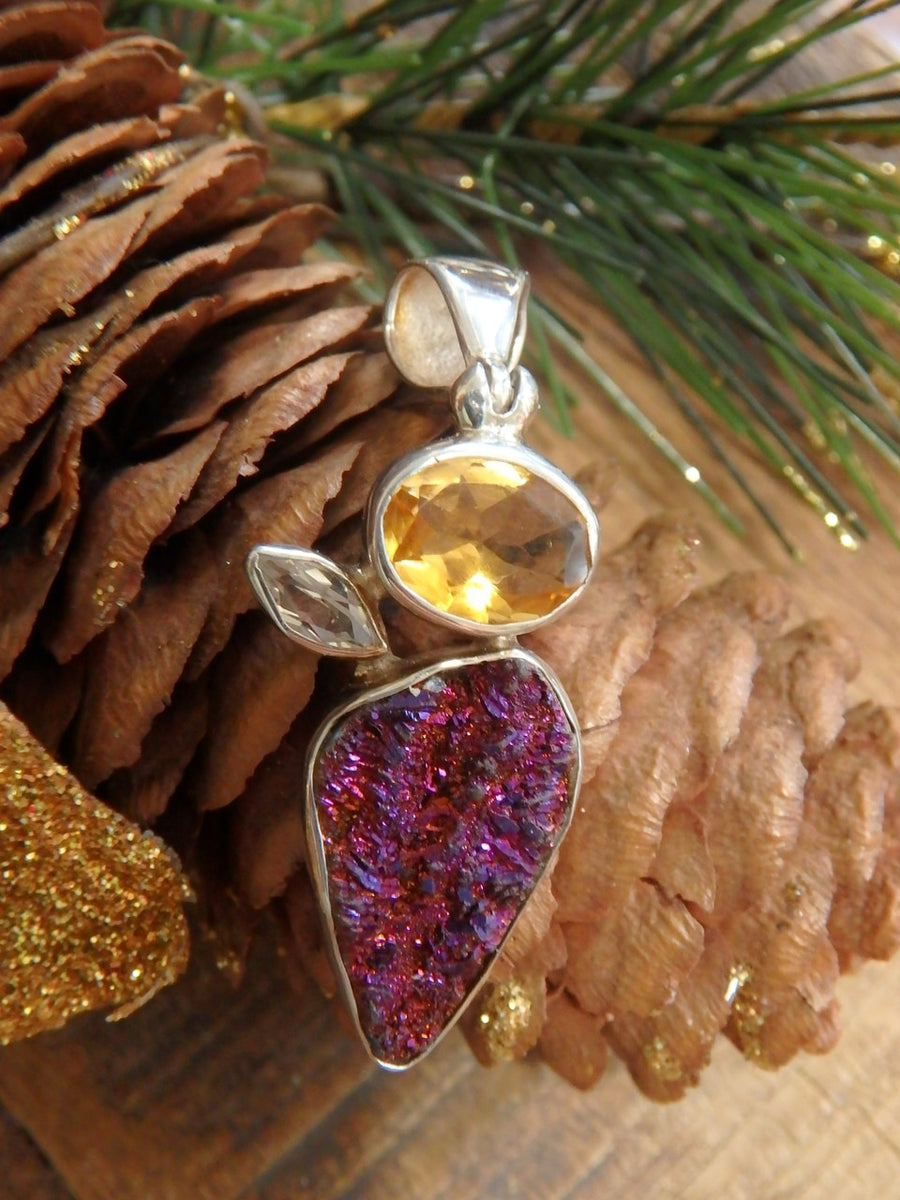 Stunning Pink Titanium Druzy, Faceted Citrine & White Topaz Gemstone Pendant in Sterling Silver (Includes Silver Chain) - Earth Family Crystals