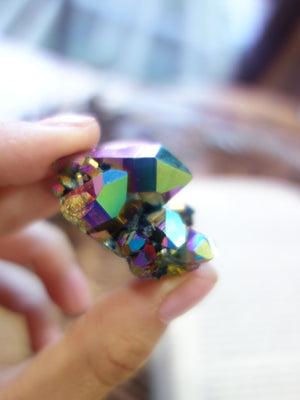 Multi Point Titanium Aura Quartz Cluster - Earth Family Crystals