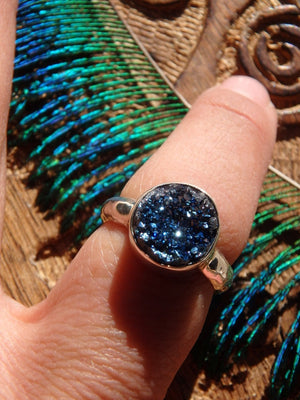 Sparkly Royal Blue Titanium Quartz Druzy Ring In Sterling Silver (Size 7) - Earth Family Crystals