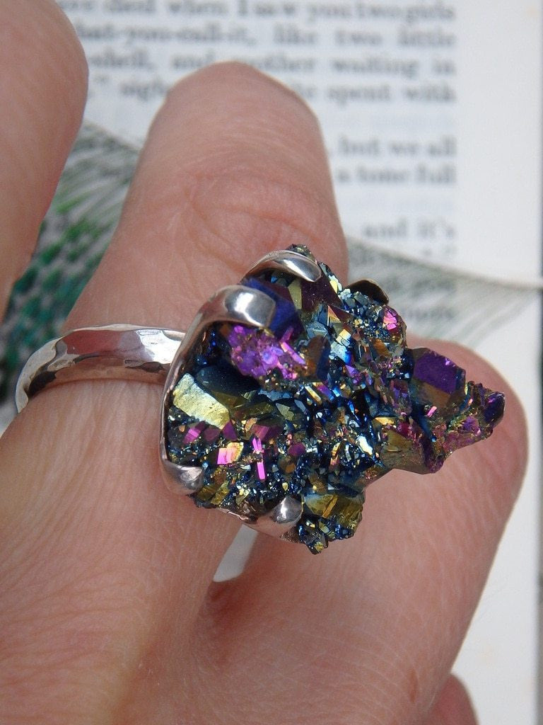 Custom Crafted~Incredible Rainbow Titanium Quartz  Ring In Sterling Silver ( Adjustable -Size 7-7.5) - Earth Family Crystals