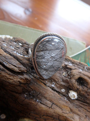 Fantastic Black Threads Tourmalated Quartz  Ring In Sterling Silver (Size 7) - Earth Family Crystals