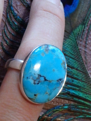 Fantastic Blue Depth Turquoise Gemstone Ring In Sterling Silver (Size 10) - Earth Family Crystals