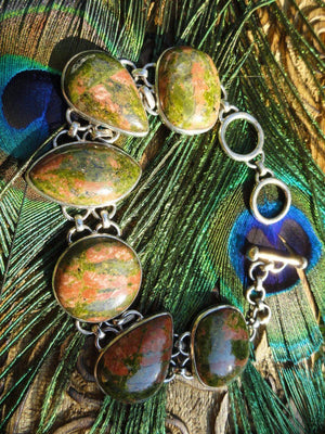 Amazing UNAKITE JASPER BRACELET In Sterling Silver* - Earth Family Crystals