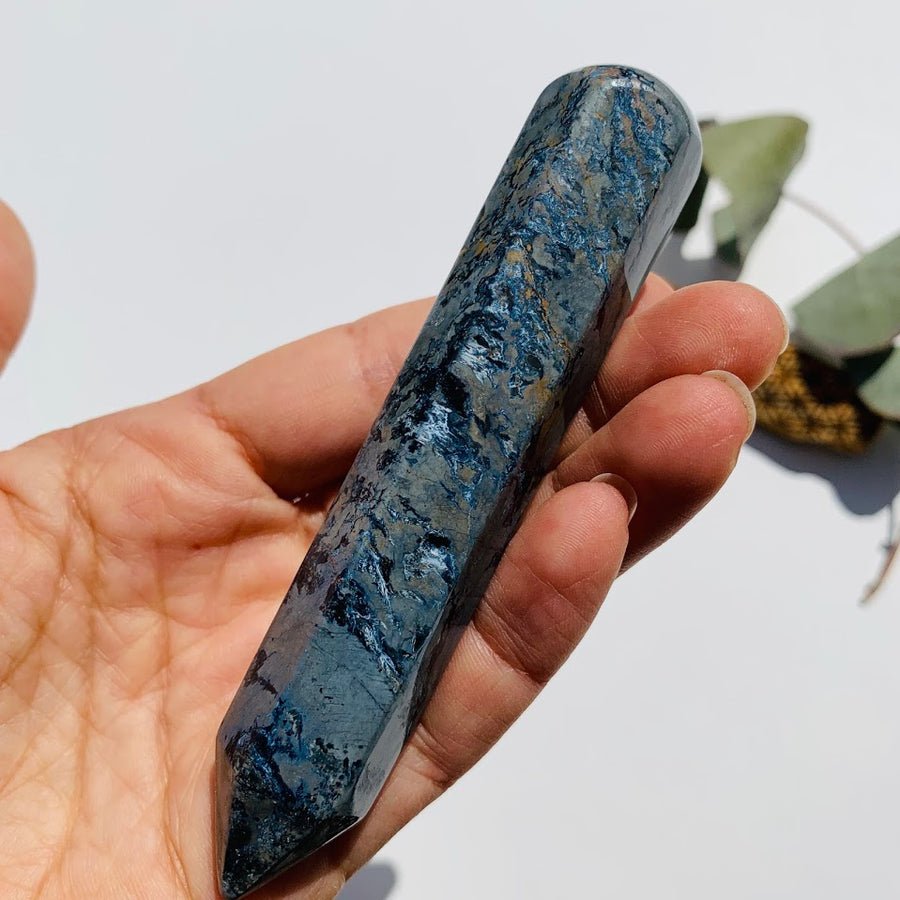 Large Silky Blue Pietersite Wand Carving #3