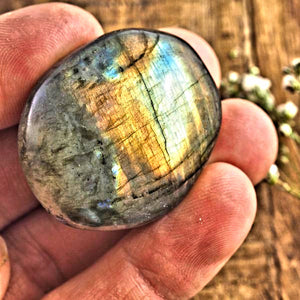 Stunning Pink & Purple Flashes Labradorite Palm Stone #3