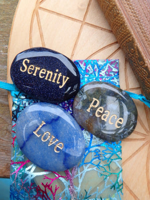 Word Stone Set of 3~Blue Agate Love Stone, Moss Agate Peace Stone, Blue Goldstone Serenity Stone - Earth Family Crystals