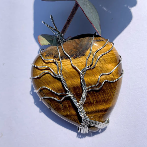 Tiger Eye Tree of Life Wire Wrapped Pendant #1