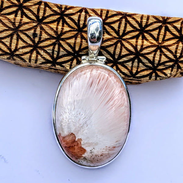 Gorgeous Silky Scolecite & Pink Stilbite Pendant in Sterling Silver (Includes Silver Chain) #2