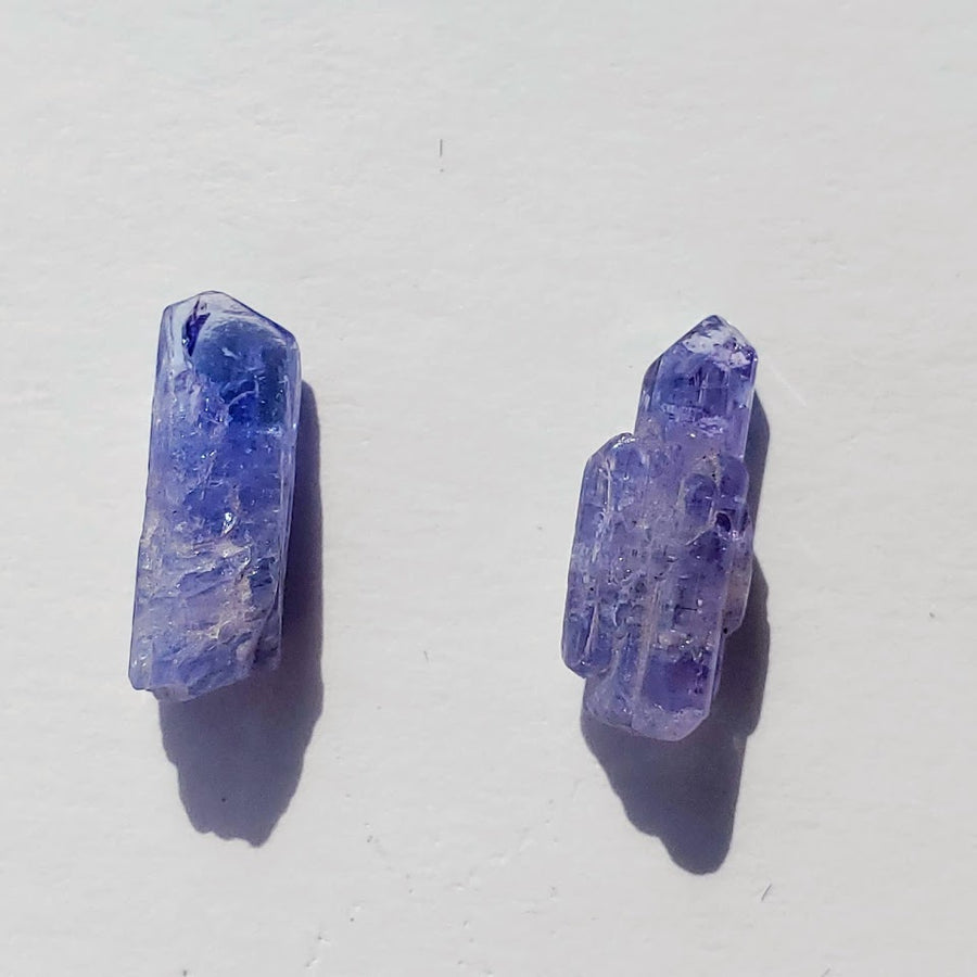 Set of 2 Natural Gemmy Violet Tanzanite Dainty Points in Collectors Box from Tanzania #6
