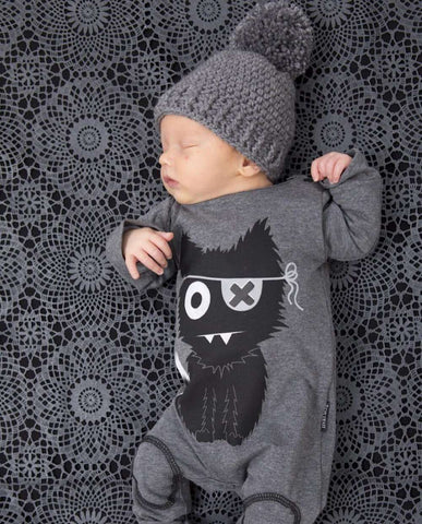 Baby Romper with Cat Cartoon