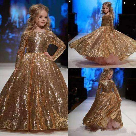 Gold Glitz Pageant Dresses Long Sleeves