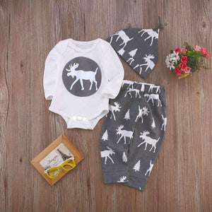 Christmas Kid Clothing Baby Boy Girl Reindeer Romper Tops +Long Pants + Hat 3PCS Outfits Newborn Spring Autumn Clothes