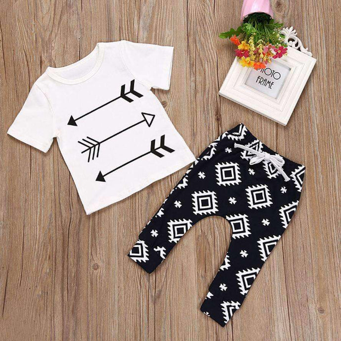 Children's set Baby Kids Boys Outfit Clothes Short Sleeve Arrow