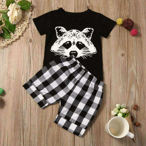 Racoon Print Shirt & Shorts Set