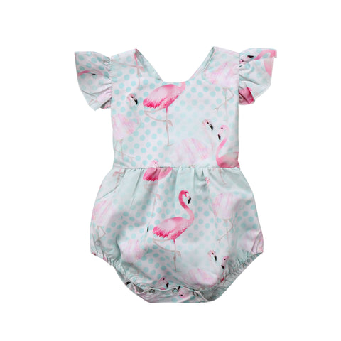 Ruffles Flamingo Jumpsuit Sunsuit