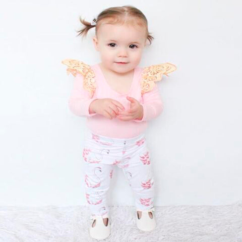 Long Sleeve Pink Tops+Pants Little Swan Suit Cotton