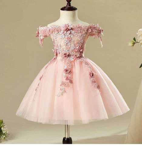 Shoulderless Flower Pink Glitz Pageant Princess Dress
