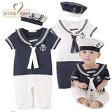 White Sailor Outfits Baby Boys Pattern