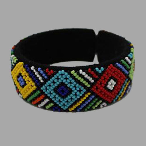 Traditional Beaded Bangle-Multicolor geometric jewelry handmade african design for women and girls