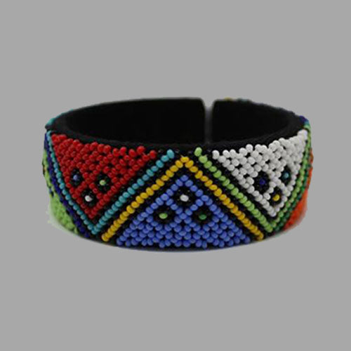 Beaded Bangle bracelet  african bangles handcrafted for women girls traditional south Africa red blue and white
