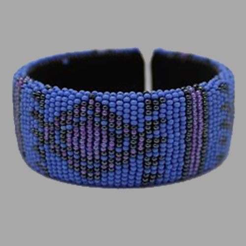 Beaded Bangle bracelet african bangles handcrafted blue and black for girls women traditional south africa