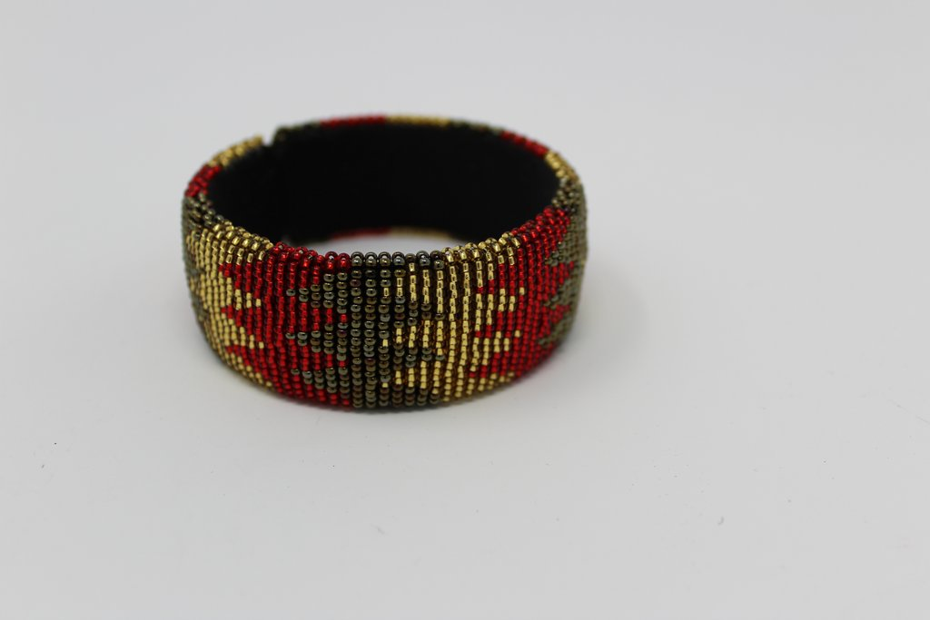Beaded Bangle Free Size  bracelet  african bangles for women in in green yellow and red design traditional south african jewelry accessory