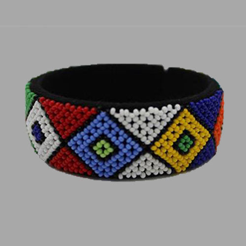 Beaded Bangle Free Size bracelet  african bangles red yellow blue and white multicolor design for women and girls traditional south african jewelry handcrafted