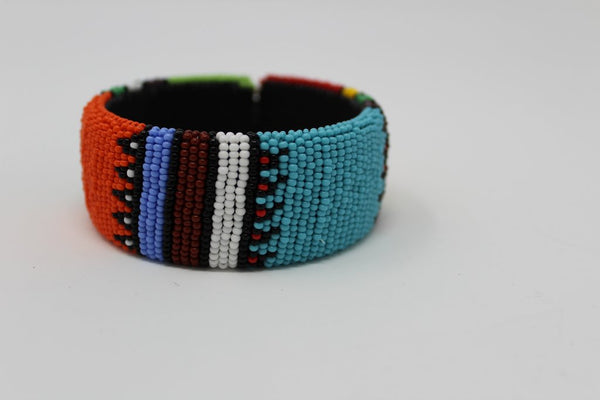 Beaded Bangle Free Size  bracelet african bangles handcrafted in brown blue red  white multicolor design for women and girls traditional south african jewelry