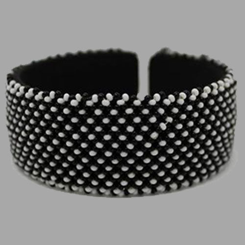 Beaded Bangle Free Size bracelet african bangles handcrafted for women and girls in black and white design south african tradition jewelry