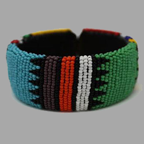 Beaded Bangle Free Size bracelet african bangles handcrafted for women and girls in green black red white multicolor design south african tradition jewelry
