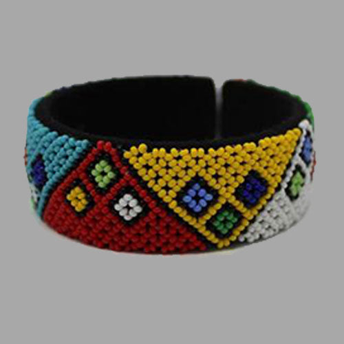 Traditional Beaded Bangle-Free Size geometric jewelry handmade  african design for women and girls