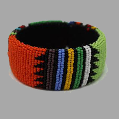 Beaded Bangle Free Size bracelet african bangles handcrafted for women and girls in green black red yellow multicolor design south african tradition jewelry