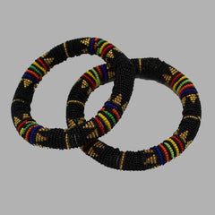 Black and Gold Thick Rolled Bracelet mens bangles black  handcrafted for women and girls in black blue green multicolor design south african tradition jewelry