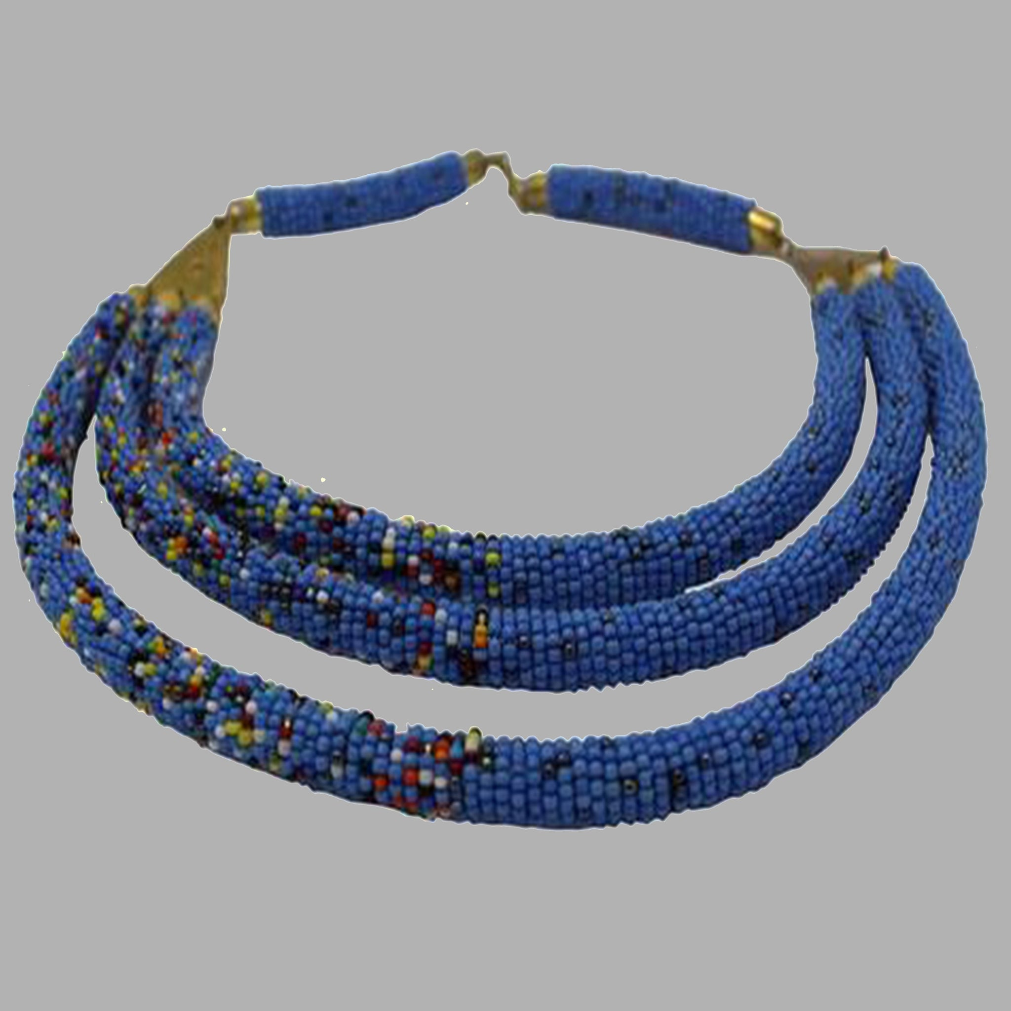 Contemporary Beaded Necklace  design beading patterns for women and girls Blue and multicolor south african tradition jewelry