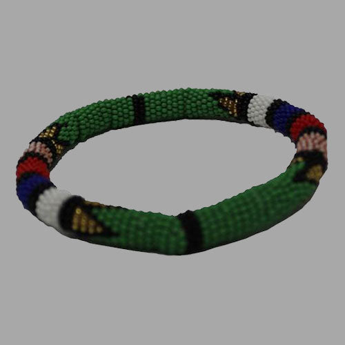Green Thin Bangle Large bangles handcrafted for women and girls in green purple red yellow multicolor design south african tradition jewelry
