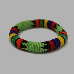 Thick Rolled Bracelet-Lime Green geometric jewelry handmade african design for women and girls