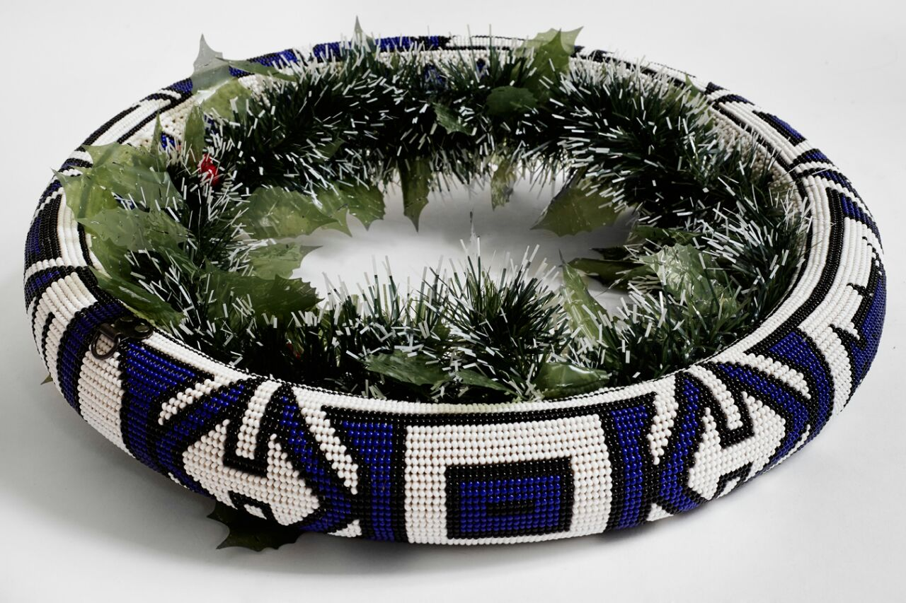Extra Large Thando Circle Bowl Traditional blue black & white handmade  geometric jewelry  african design