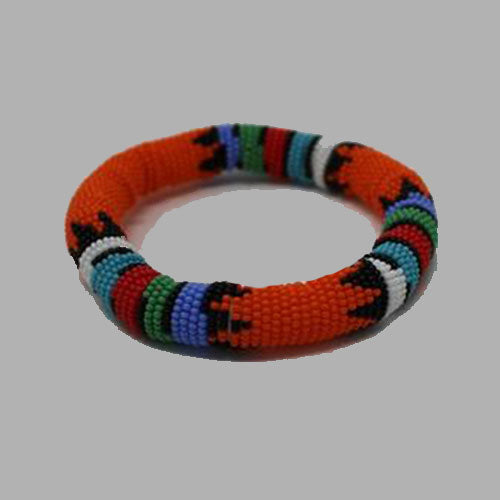 Orange Thick Rolled Bracelet With Traditional Colors multi color bracelet geometric jewelry handmade african design for women and girls