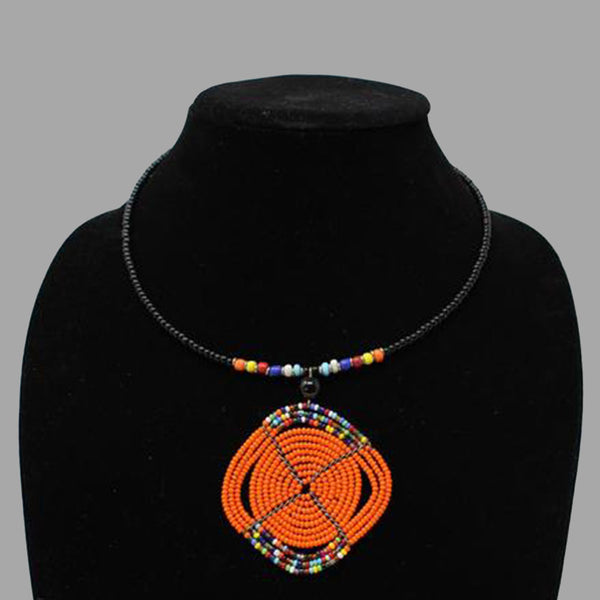 Oval Wrap Necklace handmade  geometric jewelry  african design  for women and girls in orange color