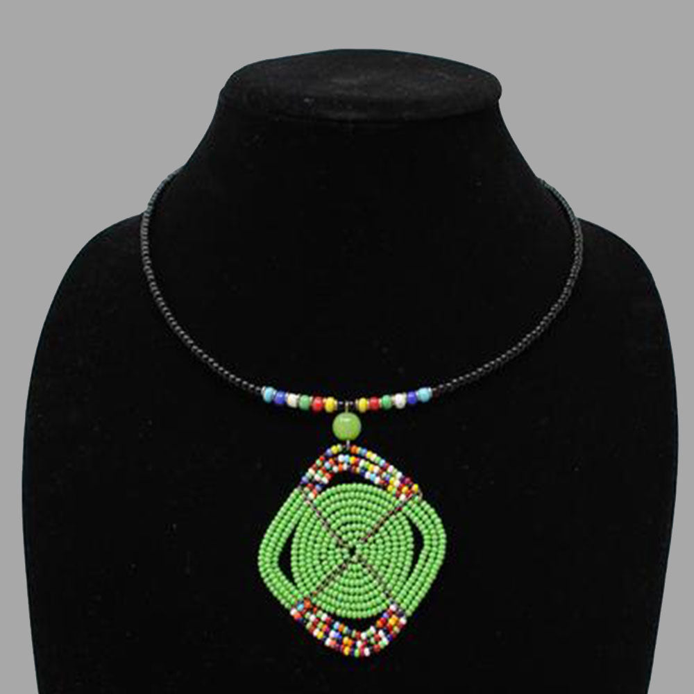 Oval Wrap Necklace handmade  geometric jewelry  african design  for women and girls in green color