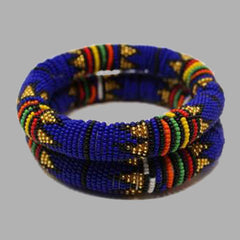 Royal Blue Thick Rolled Bracelet With Traditional geometric jewelry handmade african design for women and girls