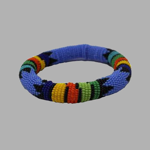 sky blue thick rolled bracelet with traditional colors geometric jewelry  handmade  african design  for women and girls in multi color
