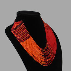 Swirling Beaded Elegant Necklace handmade african design for women and girls in orange and red color