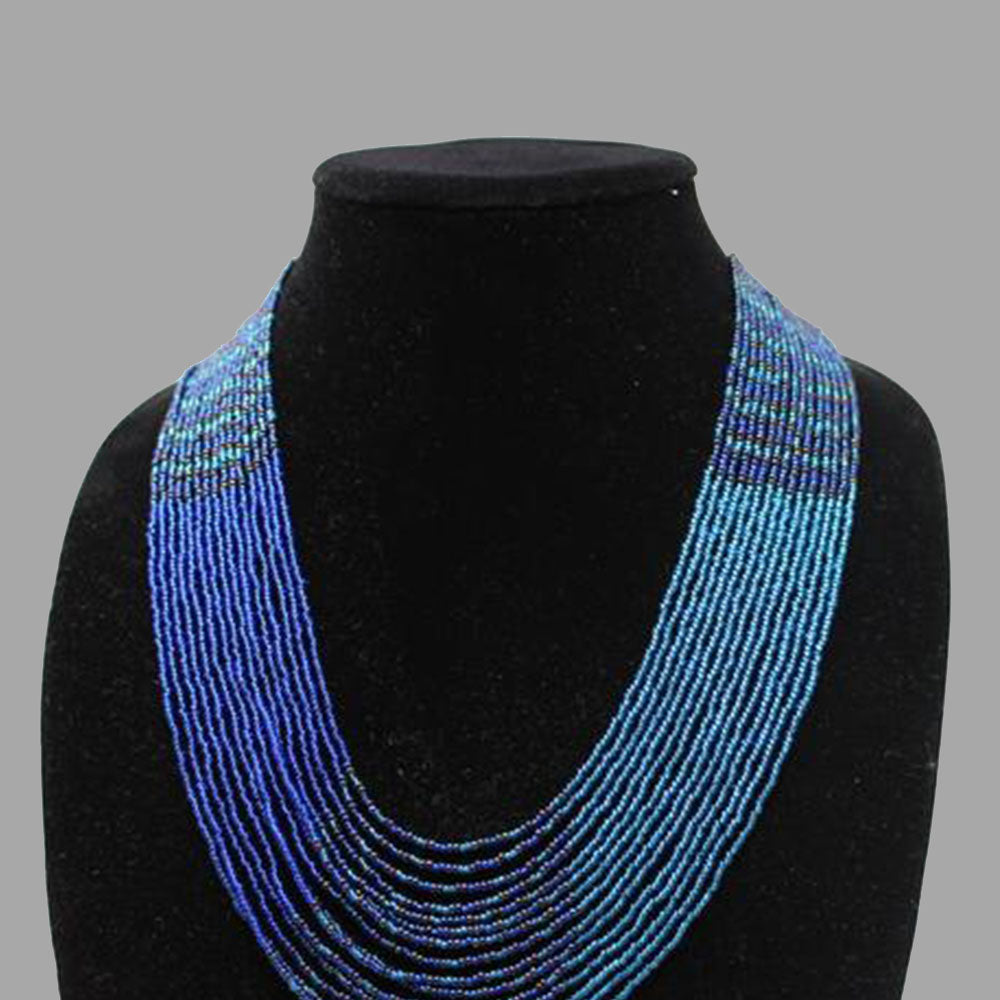 Swirling Beaded Elegant Necklace handmade african design for women and girls in blue
