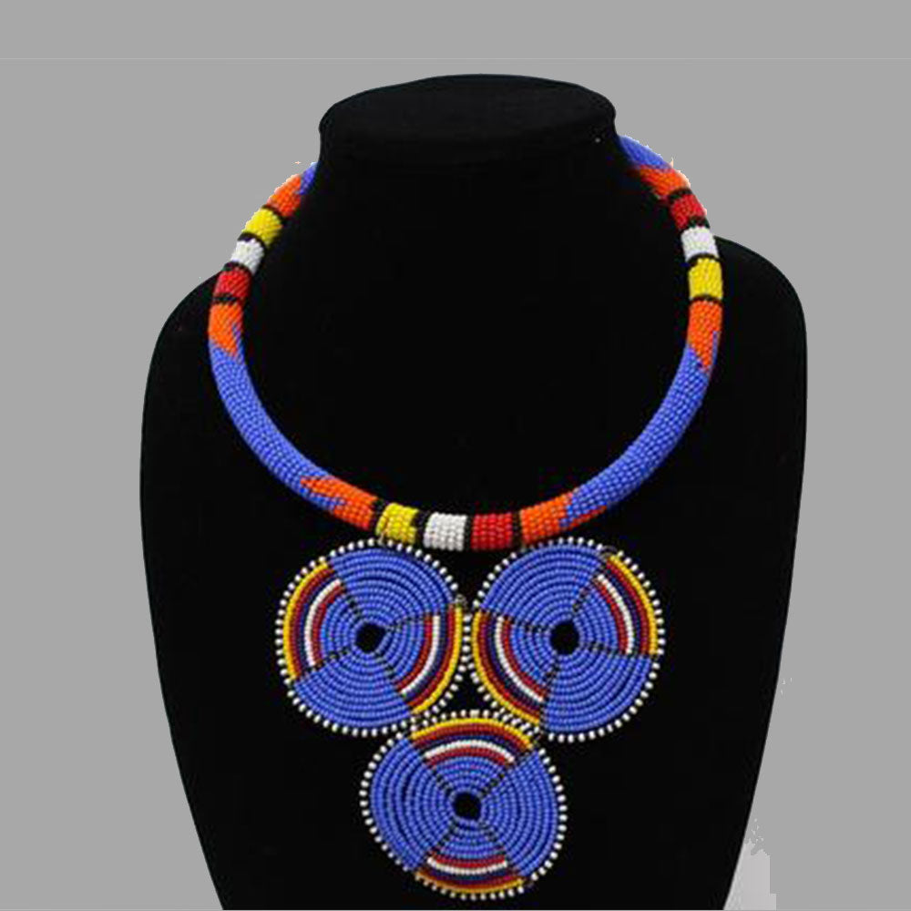 Three Circle Necklace-Blue geometric jewelry handmade african design for women and girls